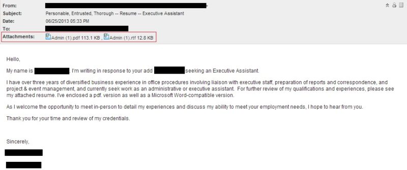 how to send resume email